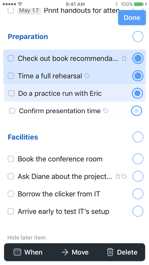 Desktop-Class List Editing on iOS